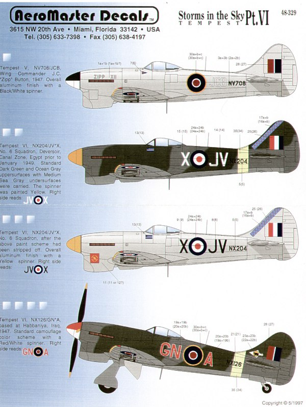 Tempest Mk.V (4) NX204 JV-X 6 Sqn Deversoir, Egypt 1949, 2 versions, camouflaged and overall silver; NX126 GN-A Habbaniya, Iraq 1947; NV708 JCB Zipp XII Wing Co J.C.Button overall silver