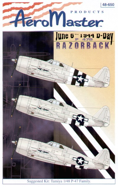 P-47D Razorback D-Day Invasion Stripes. 3 styles