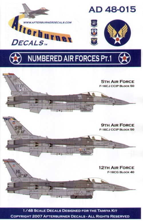 F-16C Numbered Air Force Flagships Pt 1 (3) 92-3895/WW 5th Air Force CO's Jet Misawa 2007; 94-0049/SW 9th Air Force CO's Jet Shaw Air Force Base 2007; 88-0436/HL 12th Air Force CO's Jet Hill Air Force Base 2007