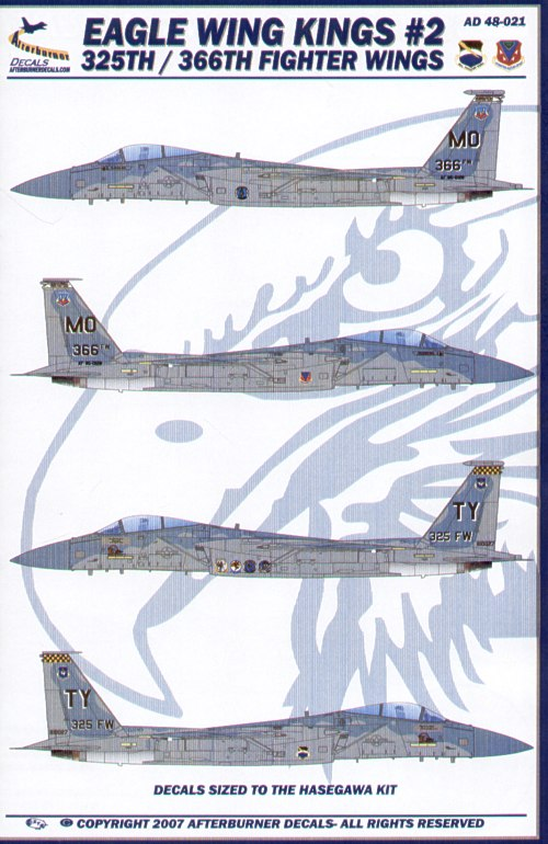 F-15C Eagle Wing Kings Pt 2 (2) 81-0027/TY 325th FW Flagship Tyndall Air Force Base 2004; 85-0128/MO 366th FW Flagship Mountain Home Air Force Base 2006