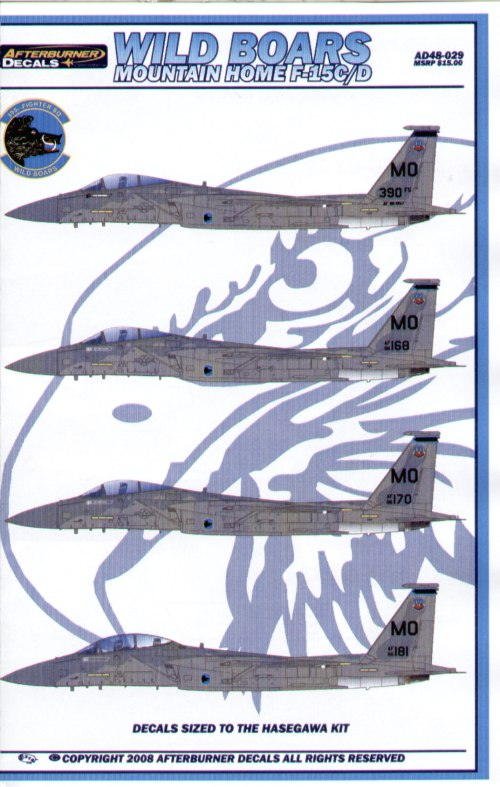 F-15C/D Mountain Home (5) 86-0157 390 FS flagship; 86-146; 86-168; 86-170; 86-181; All with appropriate crew NAMEs