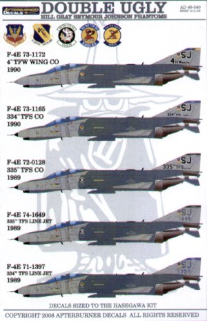 F-4E Phantoms SJ Seymour Johnson in Hill Grey camouflage; (5) 73-1172 4th TFW Wing CO 1990; 73-1165 334th TFS CO 1990; 72-0128 335th TFS CO 1989; 74-1649 335th TFS; 71-1397 334th TFS 1989.
