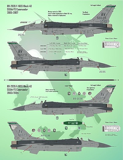 F-16C 555th FS Triple Nickels Aviano (17) Includes 88-0550 and 89-2035 555 FS Fla gships 7 versions 1994 to 2007; 6 line jets. Large double size sheet