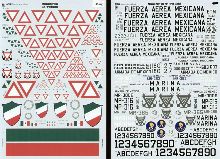 Mexican Navy and Air Force Insignia, lettering, numbers etc to make a wide variety of aircraft types in Meican service