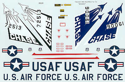 F-105A/B Detachment 15 B-1 Test Programme Chase planes. 90061 Blue tail, 72513 Black/white tail