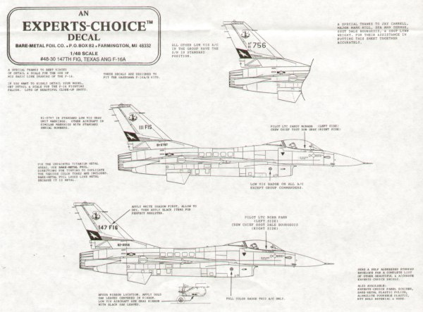 F-16A 147 FIG Texas ANG Houston