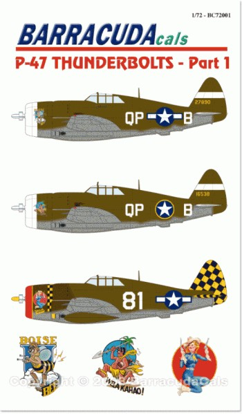 P-47 D Thunderbolts Razorbacks Pt 1 (3) 42-7890 QP-B `Boise Bee' Lt Duane Beeson; 41-6538 QP-B `Wela Kahoe' both white nose, 334th FS/4th FG Debden 1944; White 81 319th FS/325th FG Lt Don Kearns `Dallas Blonde' red nose black/yellow check tail. All OD/grey