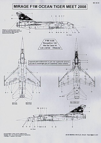 Dassault Mirage F1CT (4) No 245/13-SA EC 3/13 Auvergne 1993; No 226/30-SY EC1/30 Alsace 2006; No 278/30-SG EC1/30 Alsace 2008; No 236/30-QR EC2/30 Normandie-Niemen 2008. Data etc. for one aircraft.