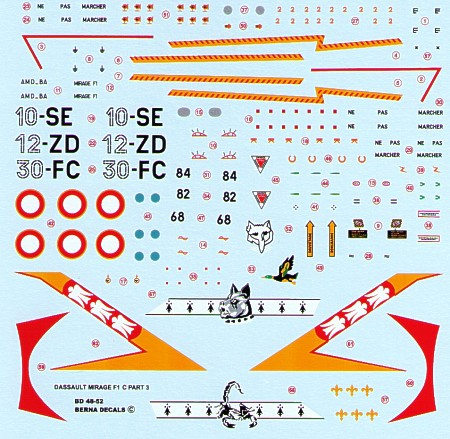 Dassault Mirage F1 C Part 3 10-SE, 12-ZD, 30-FC (3 schemes)