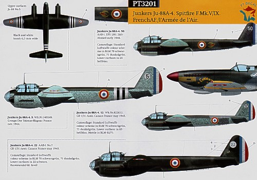 French Miscellany (7) Spitfire Mk.IXc (3) MJ897 GR 2/33 Savoie `Curieux' 1945; PL159 U6-V GC 3/3 Corse 1945; BL993/W GCB 2/18 Saintonge 1945. Ju 88A-4 50-AAB-1 EPS 1/81; No 12 GB 131 1945; No 5 Groupe Dor 1944; No 22 AAB-1 1945