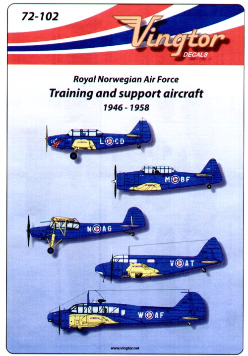 "Royal Norwegian Air Force Training and Support Aircraft (9) Fairchild M-62A Cornell L-CD Communications Flight with shark mouth 1953 or L-BD Flying School 1956; Harvard M-BG; Fieseler Fi 156C ""Storch"" N-AG 332 Sqn 1950 or N-AB Northern Air Command; Airspeed Oxford Mk.II V-AT or V-AM both Flying School Gardermoen 1948; Anson MK 1 W-AF or W-AD both Flying School Gardermoen 1948. All have blue fuselage and yellow wings"
