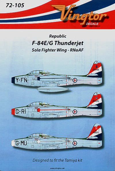 F-84E/G Thunderjet (3) Sola Fighter Wing, R. Norwegian AF. Y-FN Blue nose; G-RI red nose; G-MU white nose
